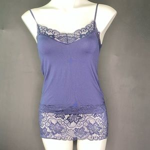 White House Black Market Lace Cami Navy Blue Small